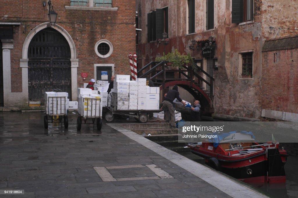 Unloading Fish Market Venice Italy Stock Photo