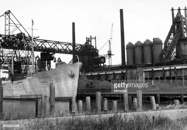 Unloading Ore at the Wharf alongside the GKB Blast Furnaces at Margam. Circa 1947.