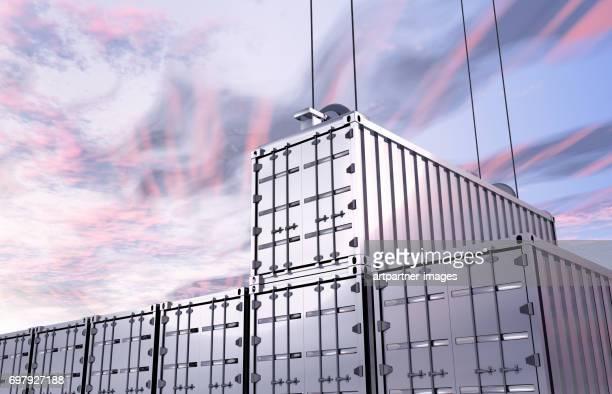 Unloading Silver Cargo Container