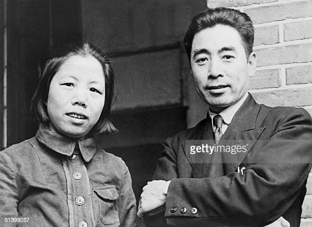 Unlocated picture dated probably in 1940s of Zhu Enlai and his wife. Zhu was one of the leaders of the Chinese Communist Party, and Prime Minister of...