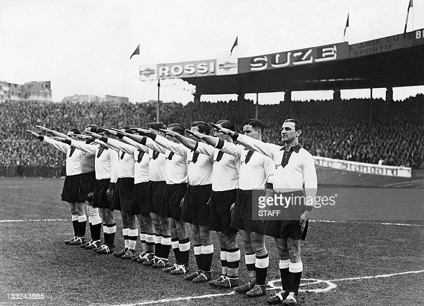 Unlocated picture released March 18 1935 of the German national soccer team players executing the nazi salute
