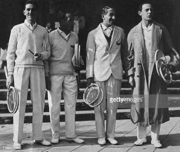 Unlocated picture taken in the 1930's showing French tennis players Jacques Brugnon Henri Cochet Rene Lacoste and Jean Borotra The group known as the...