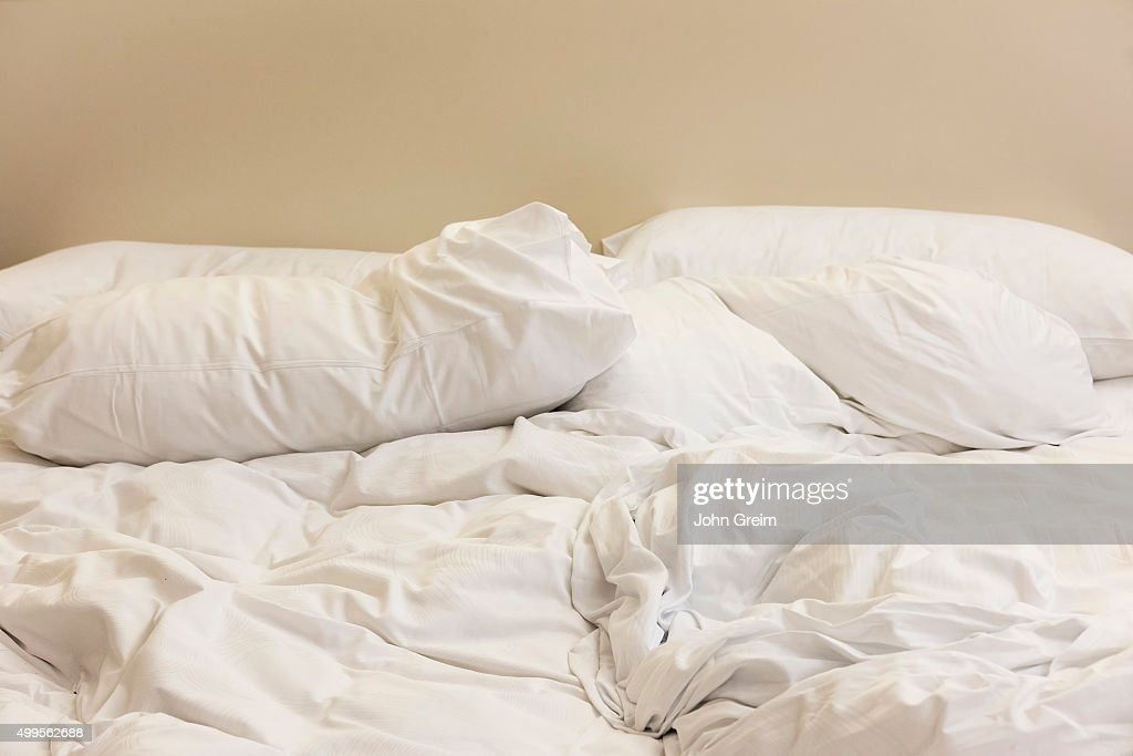 unmade bed pictures getty images