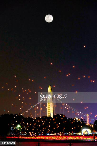 1000 unmanned aerial vehicles perform in the sky during a performance for Lantern Festival at Haixinsha Park on February 11 2017 in Guangzhou...