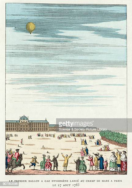 Unmanned balloon ascent from the Champs de Mars in Paris After hearing of the Montgolfier brothers� success Jacques Charles a French professor of...