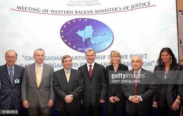 Kosovo representative, Jean Christian Cady, Greek Justice Minister Anastasios Papaliguras, Albanian Vice Prime Minister Namik Dokle, Albanian Justice...
