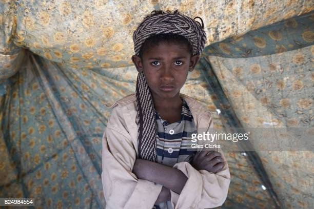 Unnamed orphan boy in a IDP settlement in north Yemen