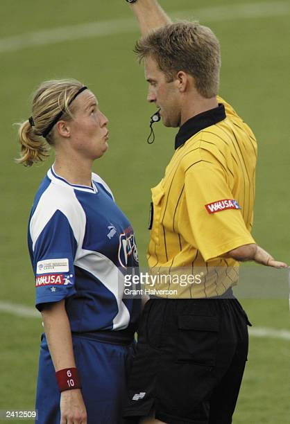 Unni Lehn of the Carolina Courage reacts as she receives a Yellow Card from referee Erich Simmons during the second half against the Philadelphia...