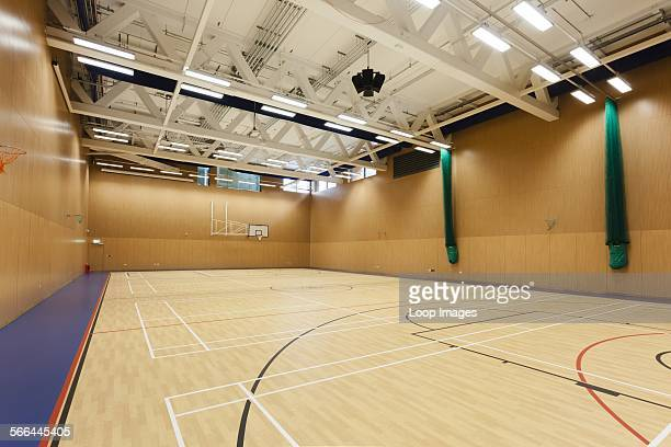 Unoccupied interior of the sports hall at Notting Hill and Ealing High School