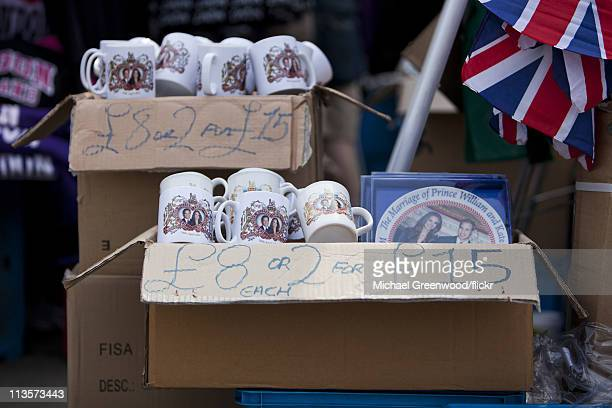 Unofficial mugs and plates celebrating the Royal Wedding of Prince William and Catherine Middleton are seen for sale on the street on April 29 2011...