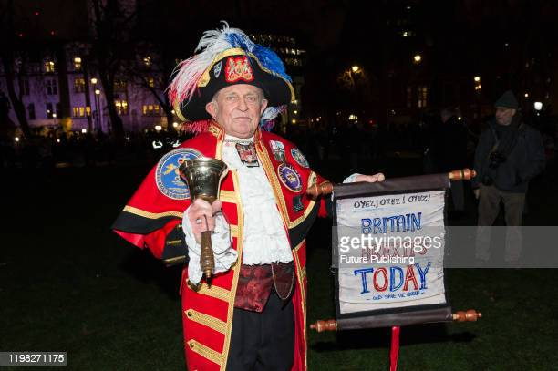 Unofficial' town crier Tony Appleton joins thousands of pro-Brexit supporters taking part in a rally celebrating Britain's departure from the EU in...