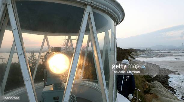 Unoosaki lighthouse at Matsukawaura is relit after repair following the March 2011 Great East Japan Earthquake on November 1 2012 in Soma Fukushima...