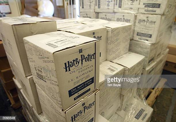 Unopened boxes of the new JK Rowling book 'Harry Potter And The Order Of The Phoenix' are seen in a secured storage room at a Barnes Noble bookstore...