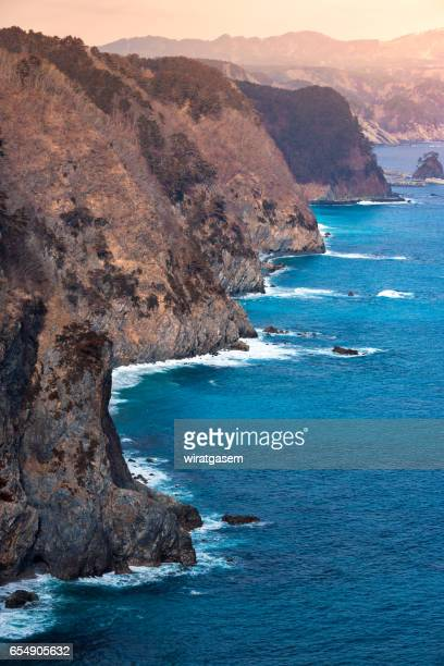 unosu cliff at tanahota - iwate prefecture stock photos and pictures