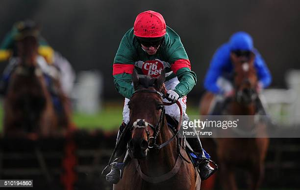 Unowhatimeanharry ridden by Noel Fehily races clear to win the Pertemps Network Handicap Hurdle at Exeter Racecourse on February 14 2016 in Exeter...