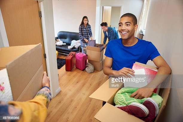 unpacking on first day at university