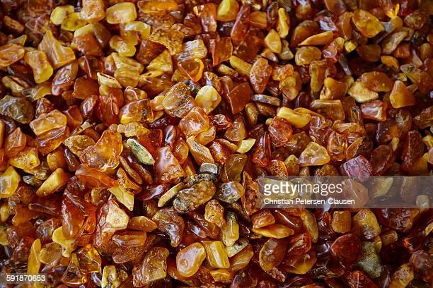 Unpolished amber stones