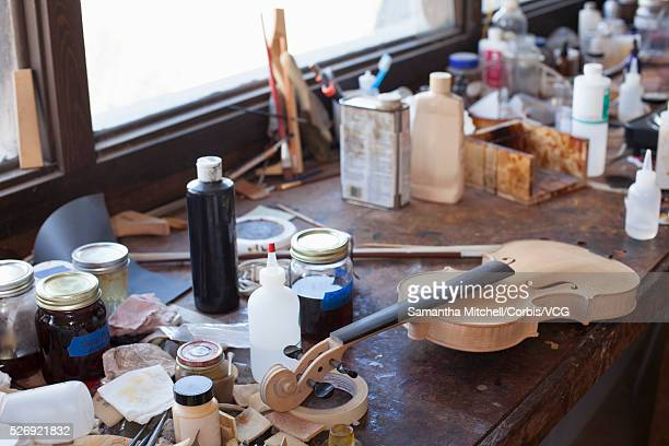 unpolished violin on workbench - vcg stock pictures, royalty-free photos & images