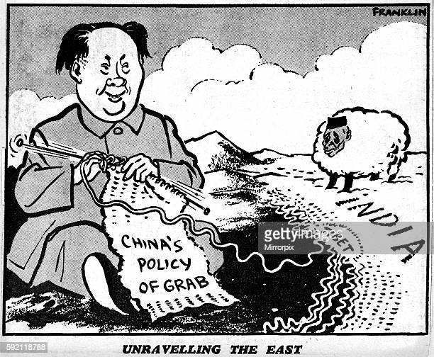 Unravelling the East Franklin Cartoon 6th May 1959 Chairman Mao sits kniting a scarf with the words China's Policy of Grab looking across at Tibet...