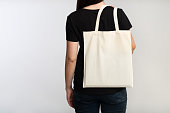 Unrecognizable Girl Holding Eco Bag On White Background, Back View