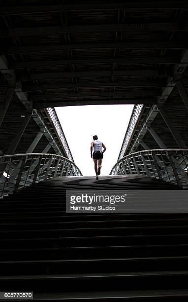 Unrecognizable person exercising in Paris, France