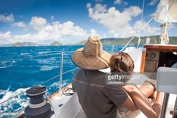 unrecognizable retired couple sailing in the Virgin Islands