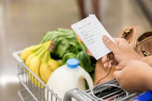 Unrecognizable woman checks items off grocery list - gettyimageskorea