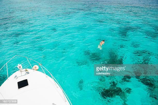 Mujer irreconocible de buceo en el arrecife de coral