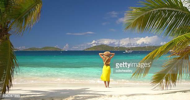 認識できない女性のビーチの海岸線に立つで、米領バージン諸島、セントジョーンズ