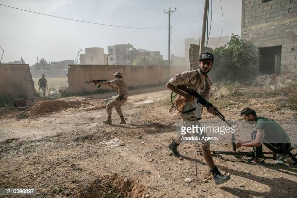"""Recognized government forces members take part in the """"Operation Peace Storm"""" of the Libyaâs Government of National Accord against the forces of..."""
