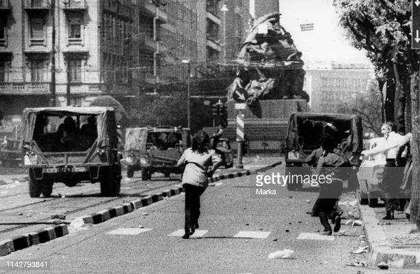 Unrest In Via Mancini. In Front Of The Headquarters Of The Msi. The Day After The Massacre In Brescia. Milan. 29 May 1974.