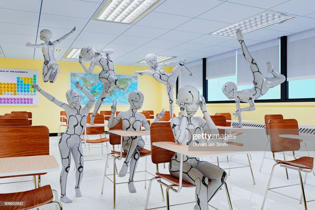 Unruly robot children in classroom : Stock Photo