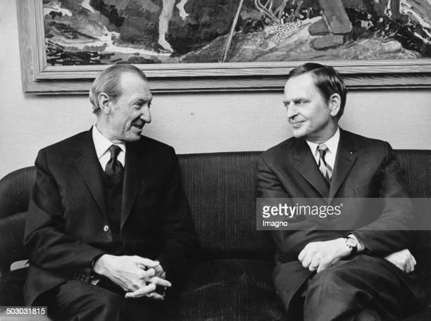 UNSecreteryGeneral Kurt Waldheim together with Prime Minister Olof Palme in the Parliament Building where he came on a flash visit invited by the...