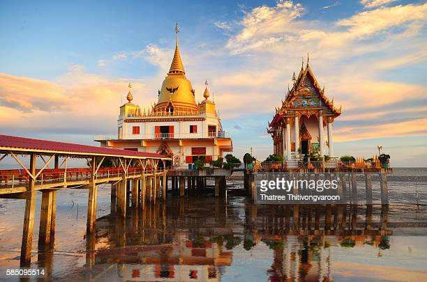 Unseen in Thailand sunset temple on the sea,Wat Hong Thong,Thailand