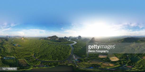 Unseen Thailand : 360 degree Aerial view of Phang nga bay in the sunset, Thailand