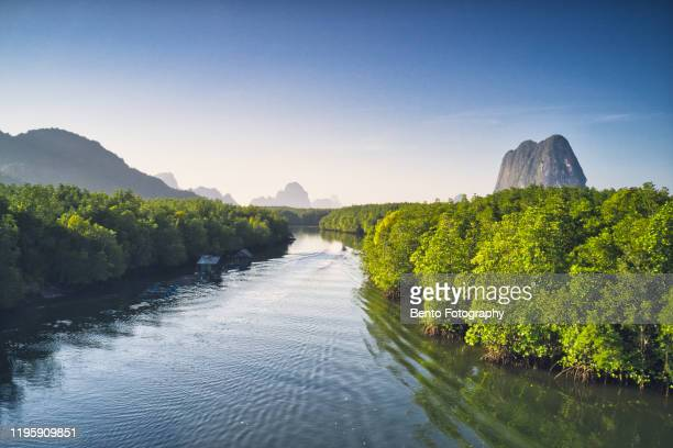 unseen thailand : aerial view of phang nga bay in the morning - tal stock-fotos und bilder