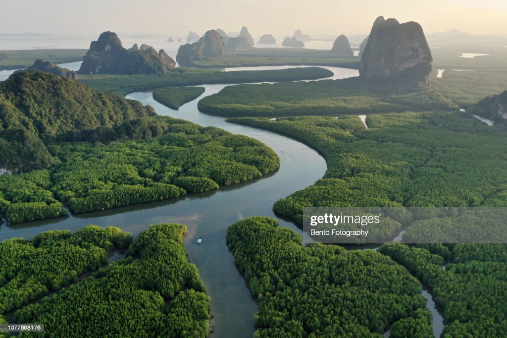 Unseen Thailand : Aerial view of Phang nga bay in the sunset, Thailand : Stock Photo