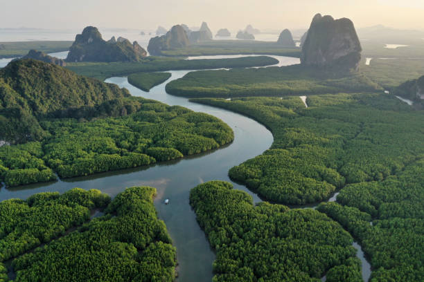 unseen thailand : aerial view of phang nga bay in the sunset, thailand - horizontal stock pictures, royalty-free photos & images