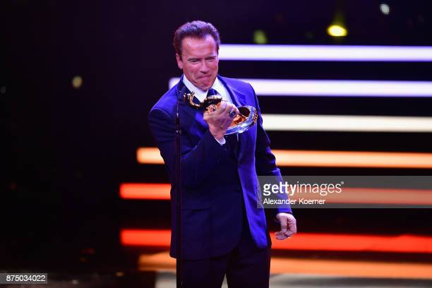 'Unsere Erde' Award Winner Arnold Schwarzenegger is seen on stage during the Bambi Awards 2017 show at Stage Theater on November 16 2017 in Berlin...