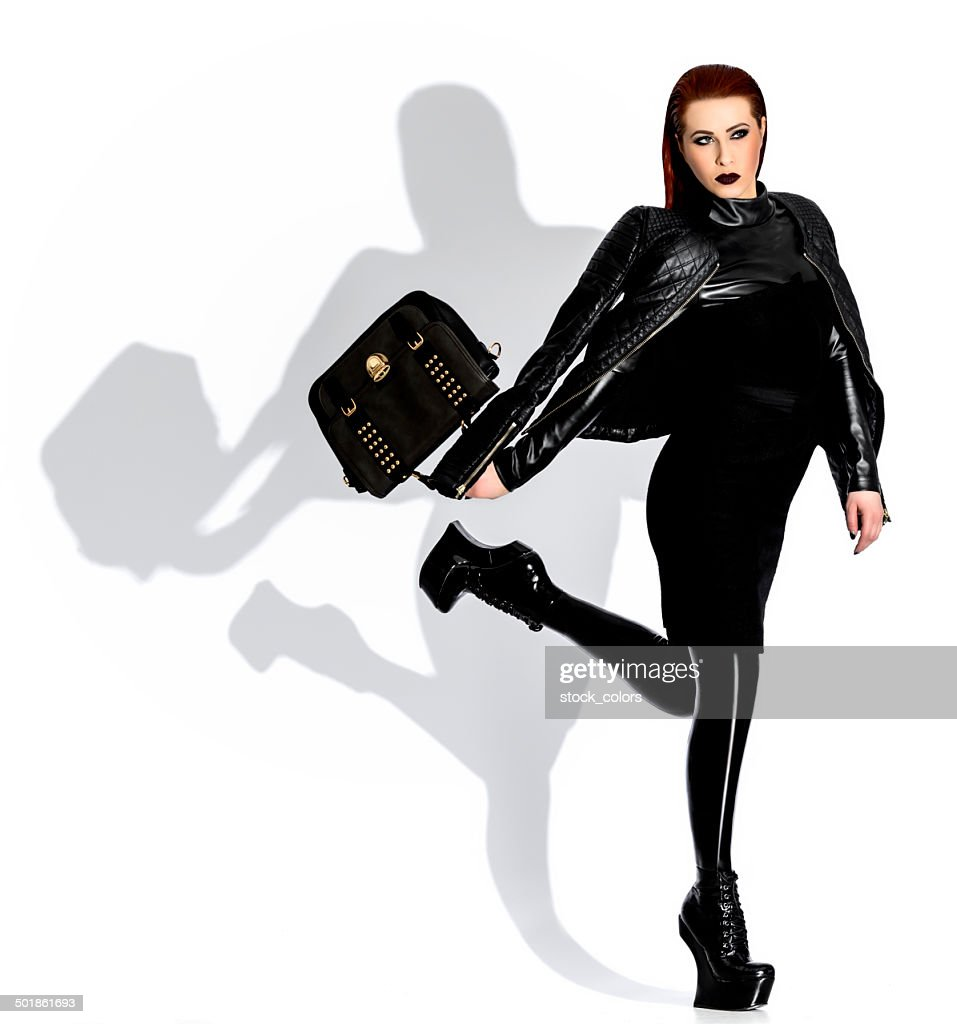 unshamed sexy woman in latex : Stock Photo