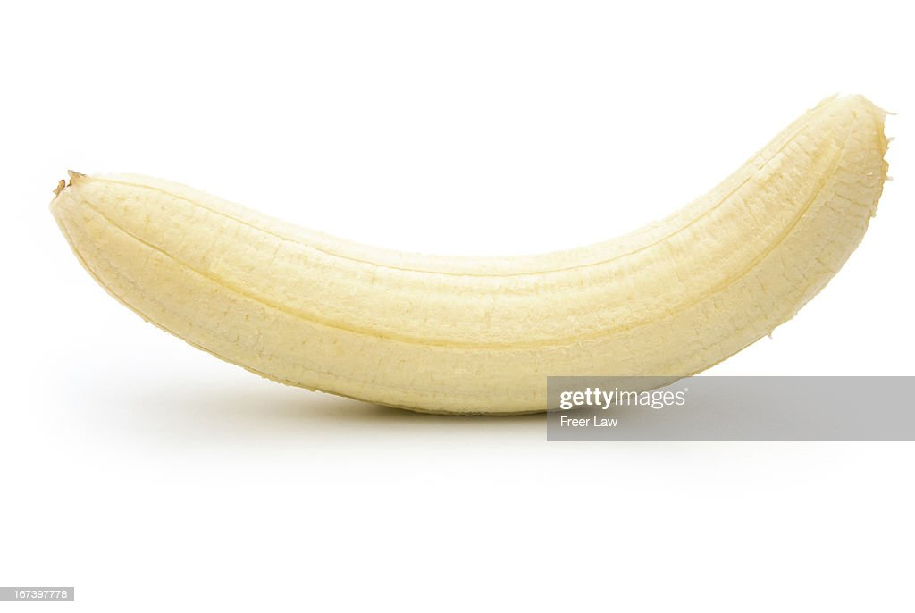 unskin banana isolated on white with clipping path : Bildbanksbilder