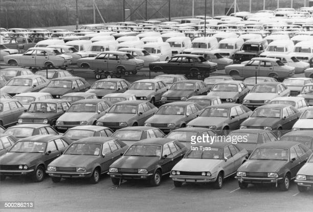 Unsold Austin Princess and Morris Marina cars at the British Leyland's Cowley plant in Oxford 12th February 1980 The company's market share has...