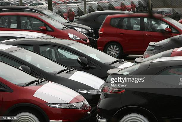 Unsold Hondas sit in a car park at the Honda factory on December 22 2008 in Swindon England Production of Honda cars is to be scaled down as the...