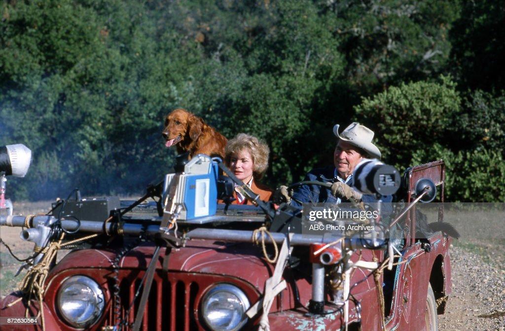 Barbara Walters, Ronald Reagan in jeep.