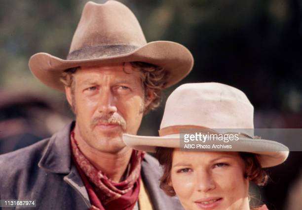 Frank Converse Christine Belford appearing in the Walt Disney Television via Getty Images tv series 'Alias Smith and Jones'