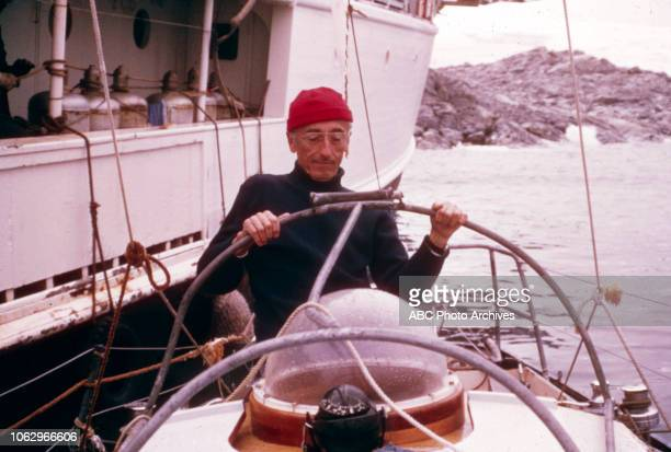 JacquesYves Cousteau aboard submarine the RV Calypso off to the side on 'The Undersea World of Jacques Cousteau'