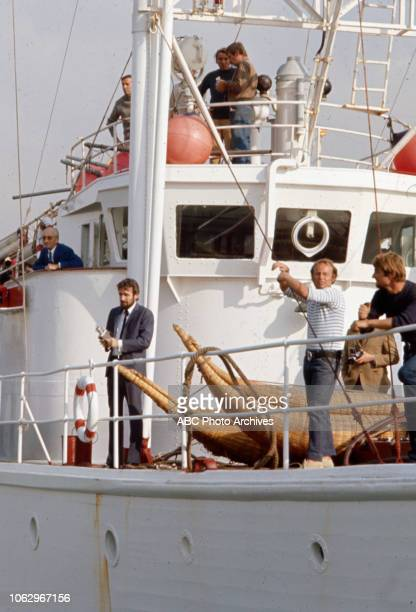 JacquesYves Cousteau PhilippePierre Cousteau on board the RV Calypso on 'The Undersea World of Jacques Cousteau'