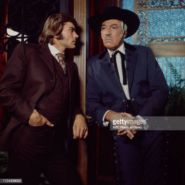 Pete Duel Cesar Romero appearing in the Walt Disney Television via Getty Images series 'Alias Smith and Jones'