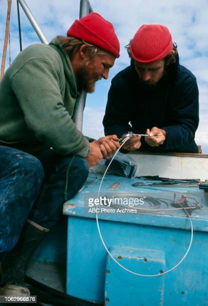 PhilippePierre Cousteau and crew working aboard the RV Calypso on 'The Undersea World of Jacques Cousteau'
