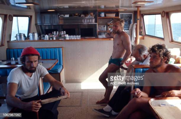 PhilippePierre Cousteau with crew on board the RV Calypso on 'The Undersea World of Jacques Cousteau'